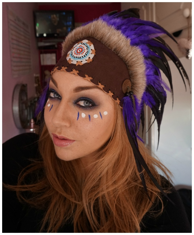 Red Indian Head Dress Halloween tutorial by Grace Kingsley